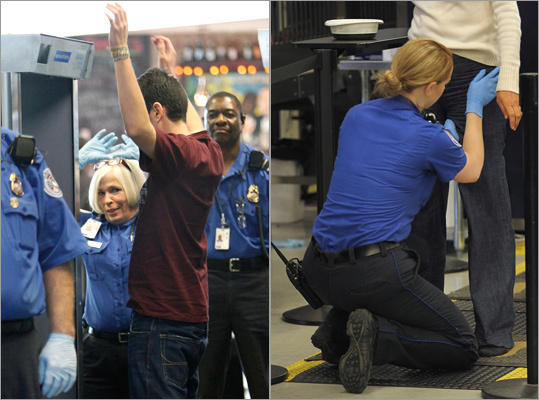 November 2010: New TSA orders require anyone who opts out of going through the full-body scanner, usually citing concerns about either privacy or radiation, to undergo a full-body pat down. Security officers conducting pat-downs receive five hours of formal training and five hours of on-the-job training. Some passengers are still screened through traditional metal detectors. July 2011: Software released that shows a silhouette of the person being scanned on a screen about the size of a laptop computer that is attached to the scanning booth, rather the full-body images.