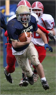 Lexington's Nick Murray ran for a gain against Burlington.