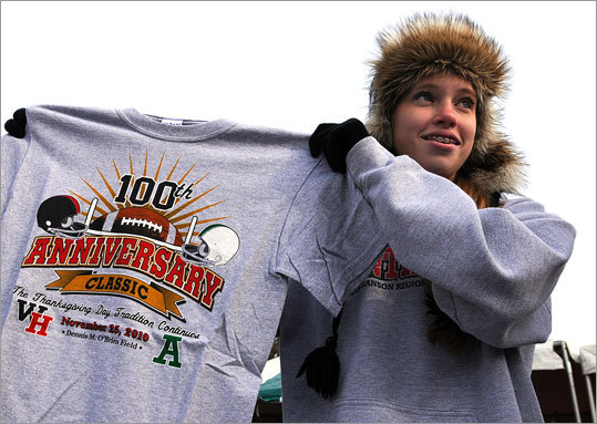 Casey Egan, an 11th-grader at Whitman-Hanson, sold commemorative t-shirts.