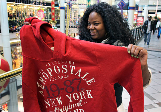 Ashley Wright from Boston picked up this Aeropostale sweatshirt - which normally sells for $34.50 - on sale for only $10.