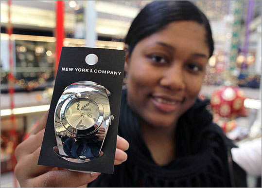Tasha Battle from Boston bought this watch at New York & Company inside the Cambridgeside Galleria. The watch, which normally retails for $19.95, was on sale for just $8.