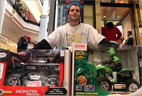 Jonathan Colantonio from South Boston got these two remote controlled toys at ToyZam at the Cambridgeside Galleri
