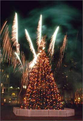 2003 Fireworks during the tree lighting on Dec. 4, 2003.