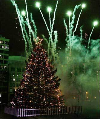 2005 Fireworks go off as the 48-foot white spruce Christmas tree is lit on Dec. 1, 2005.