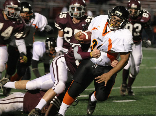 Brighton's 245-pound running back Andrew Maestre usually requires more than an arm tackle to bring him down. Maestre scored the Bengals' first two touchdowns as Brighton beat West Bridgewater 36-13 in the Division 4A semifinals.