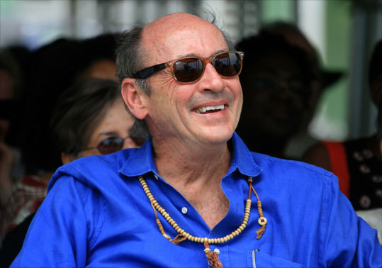 Former US poet laureate Billy Collins smiles from the Calabash audience.