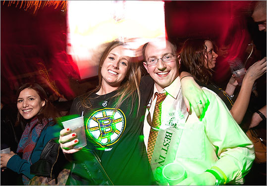 Despite his best efforts, Justin Rosen of Milford, Conn., won the award for 'Least Impressive Mustache' at the party. 'I grew it for 30 straight days,' Rosen said. He mugged for the camera with Jennifer Scribner (left). - Meet some Movember participants - Share your mustache photo