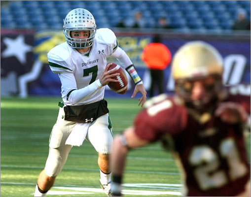 Duxbury QB Matt O'Keefe had room to run in the second quarter.