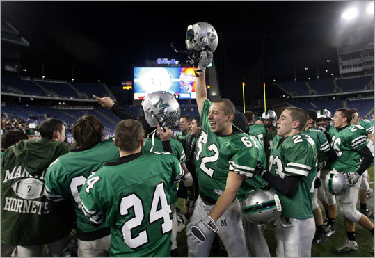 Mansfield trailed by 19 at halftime, but scored three touchdowns in the second half to earn a victory over Reading in the Division 2 Super Bowl at Gillette Stadium.