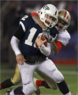Everett's Asprilla also played defense, and wrapped up St. John's Prep QB Tommy Gaudet on this play.