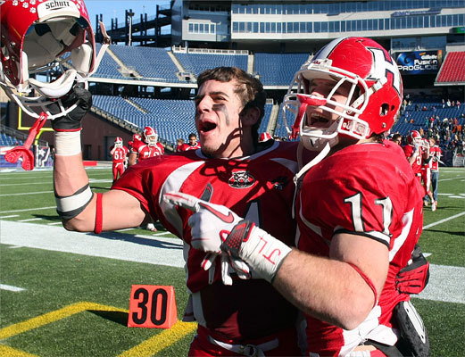 Holliston's Adam Camilli (left) and Kevin Curry celebrated after Holliston defeated Cardinal Spellman 21-7 in the Division 3A Super Bowl. It was Holliston's second trip to the Super Bowl in as many years, but this year the Panthers avenged a loss to Austin Prep in last year's game.