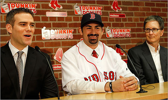 Ending one of the longest pursuits of a player in modern Red Sox history, power-hitting first baseman Adrian Gonzalez was introduced by the team at a Fenway Park ceremony.