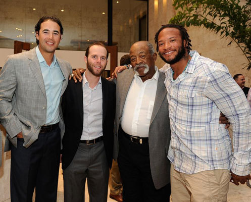 Dodgers outfielder Andre Ethier, Dustin Pedroia, Red Sox great Luis Tiant, and Darnell McDonald at the Saturday night awards gala.