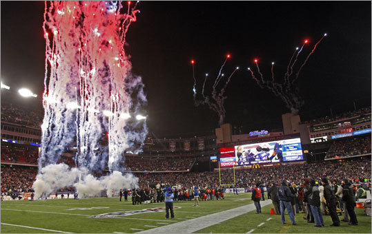 Fireworks exploded over Gillette Stadium at the conclusion of the ceremony honoring former Patriots linebacker Tedy Bruschi.