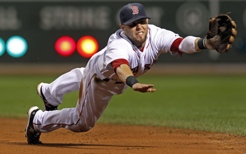 Dustin Pedroia Red Sox second baseman Dustin Pedroia, one year after winning the Rookie of the Year Award, won the American League MVP in 2008 after hitting .326 and compiling an OPS of .869. He led the league in hits and runs scored, and topped it off with a Gold Glove.