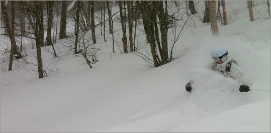 Deep powder at Jay Peak.