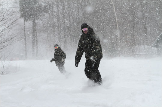 Loon Mountain, in Lincoln, N.H., has seen 10 inches of snow.