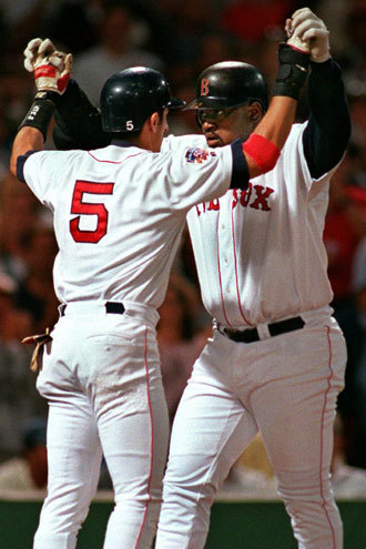 Mo Vaughn Before Big Papi was designated as the Official Red Sox Slugger, there was Mo Vaughn in the 90s. In 1995, he won the American League MVP by batting .300 and slugging .575. He hit 39 home runs and led the league with 126 RBI. Vaughn actually had a better year in '96, as he had 44 home runs, 143 RBI, and an OPS of 1.003, but only finished fifth in the MVP voting.