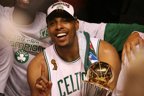 Paul Pierce In a series that featured the infamous 'Wheelchair Game', Paul Pierce emerged as the 2008 NBA Finals MVP. He played a solid all-around game against the Lakers, averaging 19.7 points, 5 rebounds, and 4.6 assists as the Celtics won in six games.