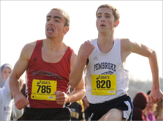 Even the elite runners among the local corps know Dana Dourdeville of Old Rochester poses a threat to even the largest lead. His finishing kick, in particular, is recognized as one of the best in the state. So, although Pembroke's Wesley Gallagher and Ryan Kelley led Dourdeville by a few meters as yesterday's all-state race at Gardner Golf Course neared the finish line, they knew it wasn't in the bag. Pictured: Only seconds from the finish, Old Rochester's Dana Dourdeville (left) is neck-and-neck with Pembroke's Wesley Gallagher. Read: Gallagher wins in close finish