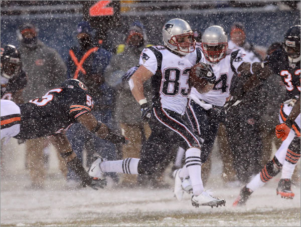 Patriots receiver Wes Welker ran for a first down.