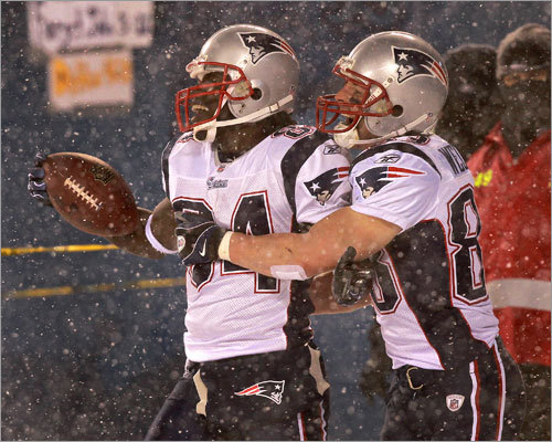 Patriots receivers Deion Branch (left) and Wes Welker both had big days in the Patriots' 36-7 victory over the Bears at snowy Soldier Field in Chiacgo. Branch had 151 receiving yards and a touchdown and Welker had 115 yards.