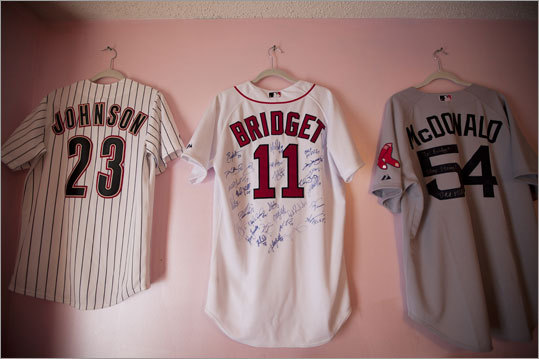 After her accident, Bridget received several items and gifts from the Red Sox, including jerseys signed by the team, as well as an offer from infielder Kevin Youkilis to buy her a new horse.