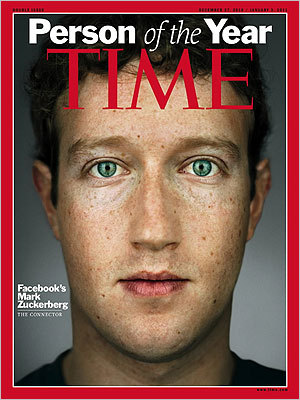 Time magazine's cover features its 2010 'Person of the Year,' Facebook founder and CEO Mark Zuckerberg.