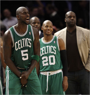 The victory was the 11th straight for Garnett, Allen and the Celtics. Shaquille O'Neal did not play because of a leg injury.