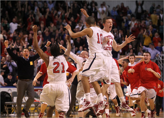Central Catholic players erupted in celebration after defeating St. John's in the closing seconds of the boys Division 1 state basketball championship game. Central Catholic looks to repeat this year.