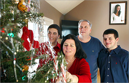 Britney Gengel's parents and brothers, Richie (left), Cherylann, Len, and Bernie, are going through their first Christmas without her.