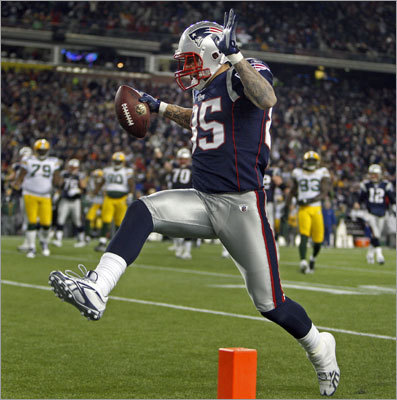 Patriots tight end Aaron Hernandez high-stepped into the end zone with the game winning touchdown in the fourth quarter. Hernandez caught two touchdown passes from Tom Brady.