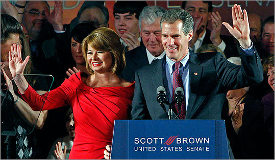 Scott Brown elected to US Senate Brown, then a Republican state representative and longshot for Edward M. Kennedy's former seat, defeated Attorney General Martha Coakley in a Jan. 19 special election. Brown's victory energized a Republican base that surged sweeping victories in the November elections. Pictured, Brown and his wife, former WCVB-TV reporter Gail Huff, at the victory party at Boston's Park Plaza Hotel.