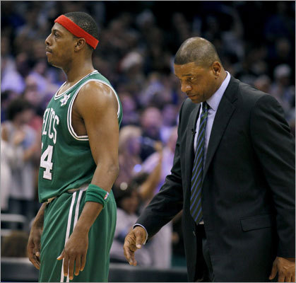 Paul Pierce and coach Doc Rivers tasted defeat for the first time in 15 games as the Magic snapped the Celtics' win streak, which had reached 14 prior to Saturday's game.