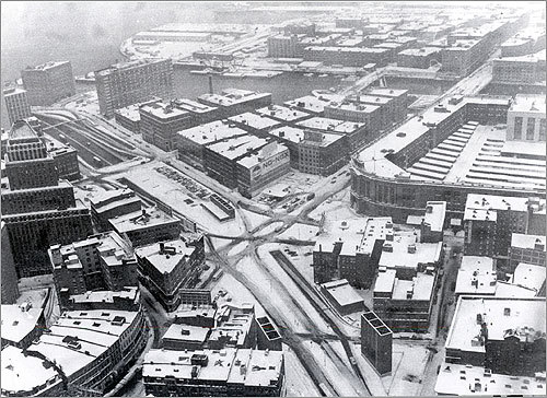 3: February 24-27, 1969 -- 26.3 inches Dewey Square is seen from the sky following a storm in February 1969.