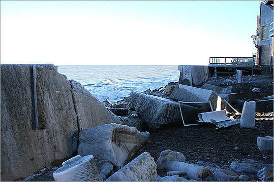Danehey, chairman of the Scituate Board of Selectmen, compared the toppling of the large cement blocks to dominoes, saying it truly was telling of the power Mother Nature has.