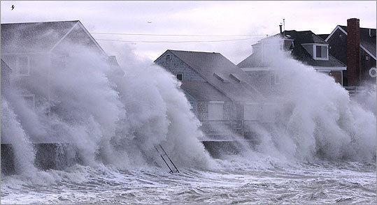 "A spokesman for the state emergency management agency, Peter Judge, told the Globe that Scituate, a South Shore town that has lost numerous homes to the sea over the years, may have suffered the worst of it. ""Scituate seems to be in the bull's-eye,'' he said."