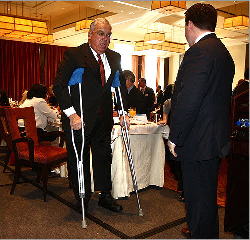 Last November, Mayor Menino severed a tendon in his left knee after falling in his son's Hyde Park home. Following a 90-minute procedure at Brigham and Women's Hospital, he had to rely on crutches for several weeks.