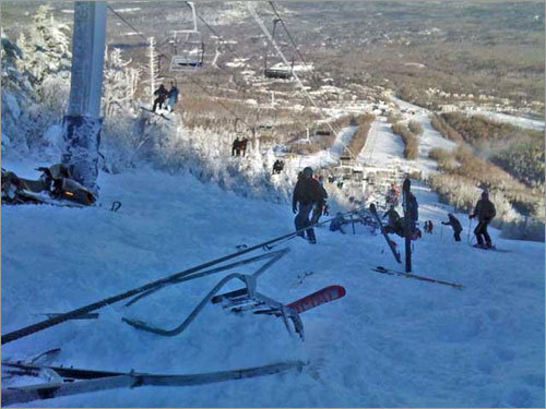 Five chairs plunged to the slopes after a lift derailed today at Sugarloaf Mountain in Maine, leaving six people with non-life-threatening injuries and stranding 220 above the mountain. Read on for more photos of the accident. (Photo courtesy of TheBostonChannel.com )