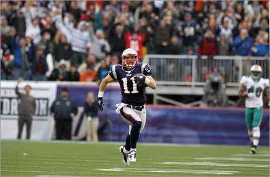 "Julian Edelman, Jan. 2, Patriots vs. Dolphins After he was listed as inactive for the Sept. 12 season opener against the Bengals, Julian Edelman proved to be anything but in the regular-season finale as the playoff-bound Patriots administered a 38-7 shellacking to the Miami Dolphins at Gillette Stadium. Edelman's dazzling 94-yard punt return for a touchdown 18 seconds before intermission — which set a franchise record — punctuated his 197 all-purpose yards. ""It was a great return, a huge play right before halftime,'' Brady said. ""To go up, 24-0, at the half, I think it gave him a lot of confidence.' Edelman also made three catches for 72 yards, including a 40-yarder in the first quarter."