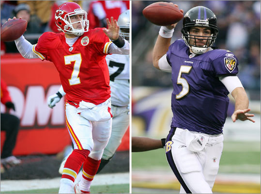 Ravens at Chiefs, Sunday, 1 p.m. Former Patriots quarterback Matt Cassel has led the Chiefs to a surprising 10-6 record, but Kansas City will be up against one of the league's best defenses. They did not meet in the regular season. Joe Flacco leads the Ravens' offense.