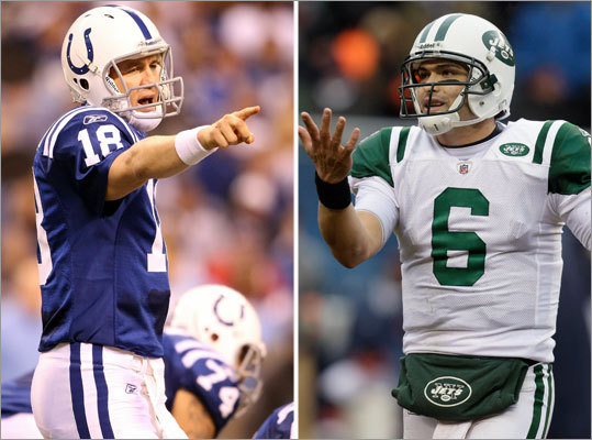Jets at Colts, Saturday, 8 p.m. While the Jets have continued to soar since losing last season's AFC title game to the Colts, Indianapolis weathered a difficult, injury-plagued season and didn't get into the playoffs until the final day of the season. The quarterback duel in this one matches Peyton Manning vs. Mark Sanchez.