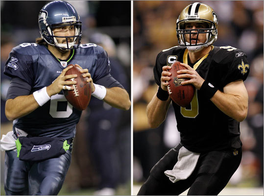 Saints at Seahawks, Saturday, 4:30 p.m. Tough to fathom how it came to be that the defending Super Bowl champion, with an 11-5 record, opens the playoff on the road against a 7-9 team, but that's what will happen here. The Saints earned a wild-card berth, while the Seahawks won the weak NFC West. Because division winners are seeded higher than wild cards, Drew Brees and the Saints must travel. The Seahawks will have to decide on a quarterback -- Charlie Whitehurst (left) led a victory over the Rams, but Matt Hasselbeck is ready to return from an injury.