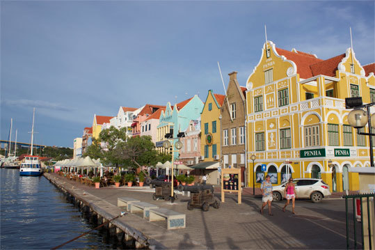 Harborside buildings along Handelskade on the Punda side of Santa Anna Bay, Willemstad.