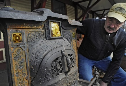 Erickson left Perkins in 1980 and began restoring old stoves — and occasionally, old refrigerators and old sinks — as his full-time job. His clients have included Ralph Lauren and Whoopi Goldberg. But usually, Erickson's projects end up in the working kitchens of ordinary customers. David Erickson owns and runs Erickson's Antique Stoves, Inc. out of an old railroad depot. A recent acquisition is this 1885 Ivy Franklin stove.