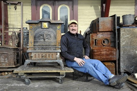 David Erickson has been giving old stoves new life for more than 30 years in his workshop, a Victorian-era train depot in Littleton. One of his stoves recently won honorable mention in ''Steampunk: Form and Function, An Exhibition of Innovation, Invention & Gadgetry,'' at the Charles River Museum of Industry & Innovation in Waltham.