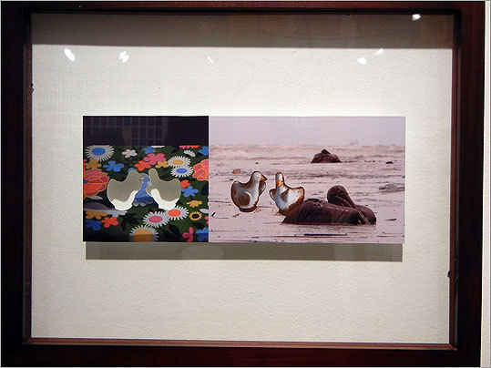 "Kasia Bytnerowicz's sources for ""Duckies in Hell"" are an Associated Press photo and the work of fellow Atlantic Works Gallery artist Maureen O'Connor. Bytnerowicz took a set of playful ducks — a signature motif for O'Connor — from one of her colleague's paintings and dirtied them up, transposing them from a clean tablecloth to an oil-soaked beach in the AP photo."