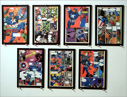 "For ""Double Danger,"" artist Nick DiStefano took seven pages from a Captain America comic book and painted over the dialogue and narration, removing the action from its context but only minimally altering the source material."