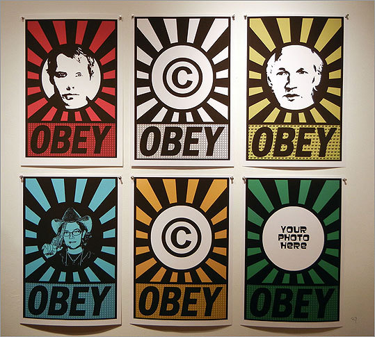"Charlene Liska dedicated her piece, ""Obey ©,"" to Shepard Fairey, whose work inspired it. Liska wrote, ""The artist recently championed as an advocate for 'fair use' when he based his iconic Obama campaign poster on a copyrighted Associated Press image, and then proceeded to take legal action against several artists for doing the same with his images."""