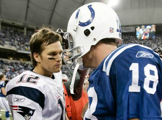 Jan. 21, 2007: Colts 38, Patriots 34 In another Colts-Patriots playoff epic, Peyton Manning got the better of Brady this time. Brady completed 21 of 34 passes for 232 yards and one touchdown, and was intercepted once.